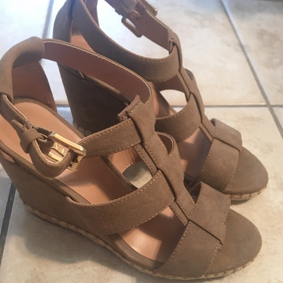 2913110f9a5f Merona ankle strap suede wedges. M 5b43a93604e33dca42173a71